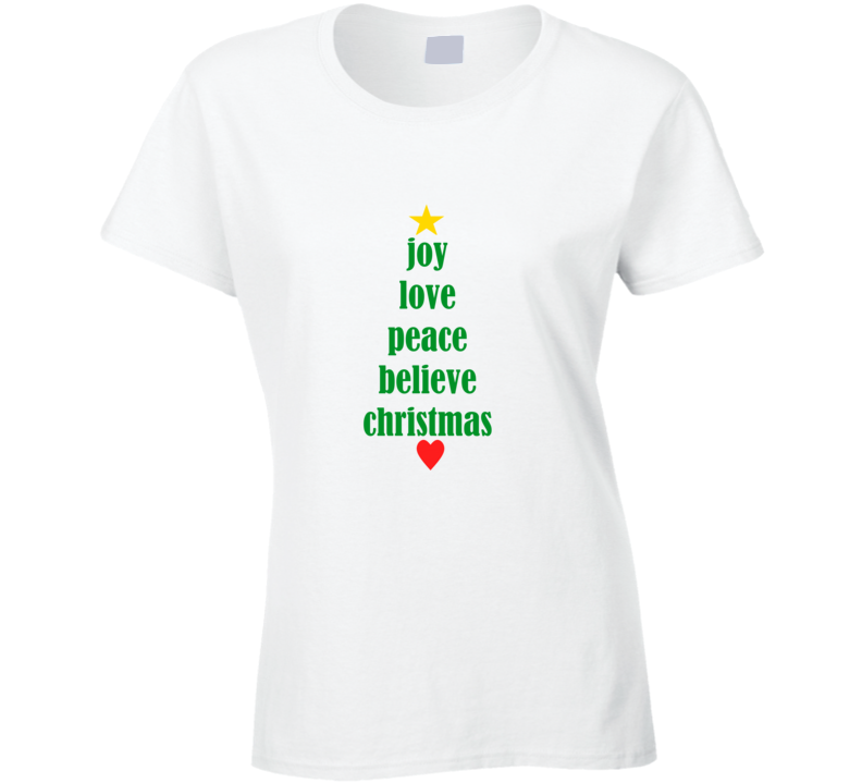 joy love peace believe christmas one piece cute ladies xmas tree t shirt