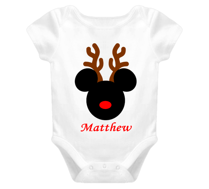 Personalized Baby Shirt Cute Mickey Reindeer Christmas Antler Create your Own Holiday Baby One Piece