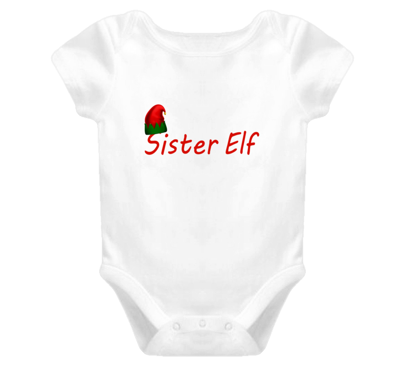 Cute Baby One Piece Christmas Sister Elf T Shirt For Girls