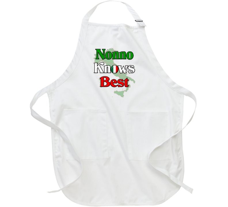 Nonno Knows Best Apron Italian Grandparent Gift Customize Flag Italy