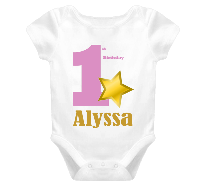Twinkle Twinkle Little Star First Birthday One Piece Shirt Custom Name and Color Options Available One Gold Star