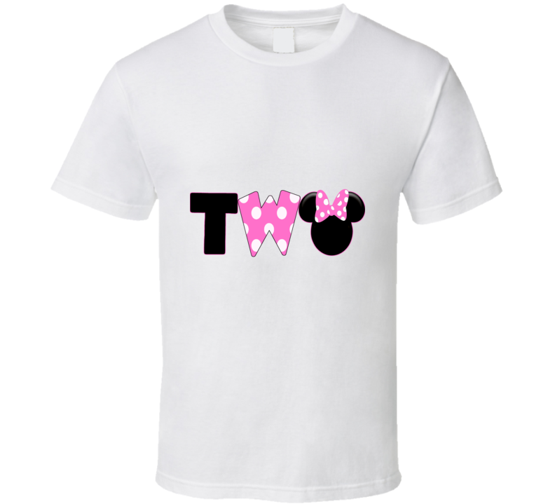 Toddler Girl Minnie Mouse Two Birthday Shirt Pink and White Polka Dots Second Bday