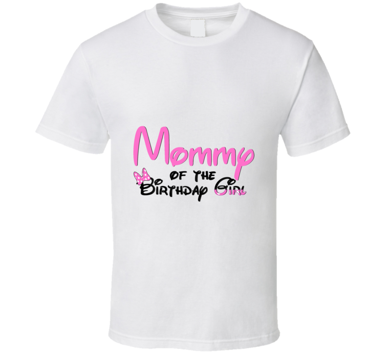 Mommy of the Birthday Girl Pink Minnie Mouse Toddler and Baby Birthday Party T Shirt