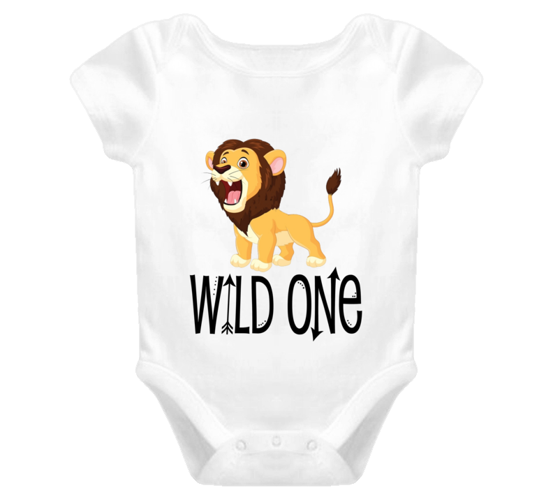 Wild One First Birthday zoo animals Baby Onesie Lion Boy or Girl