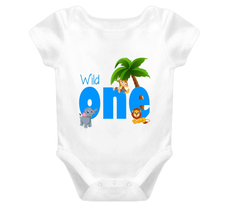 Wild One First Birthday zoo animals Baby Onesie Lion, Elephant and Monkey Boy or Girl