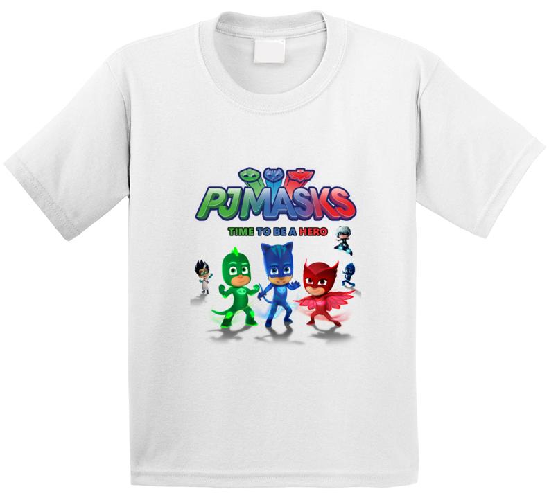 Pj Masks Tshirt Kids Cartoon Disney Jr. Time To Be A Hero Live