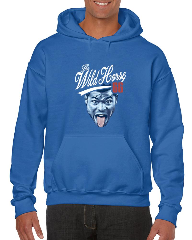 Cool Wild Horse Puig Yasiel World Series Los Angeles Dodgers Baseball Player Hooded Pullover Blue Tshirt
