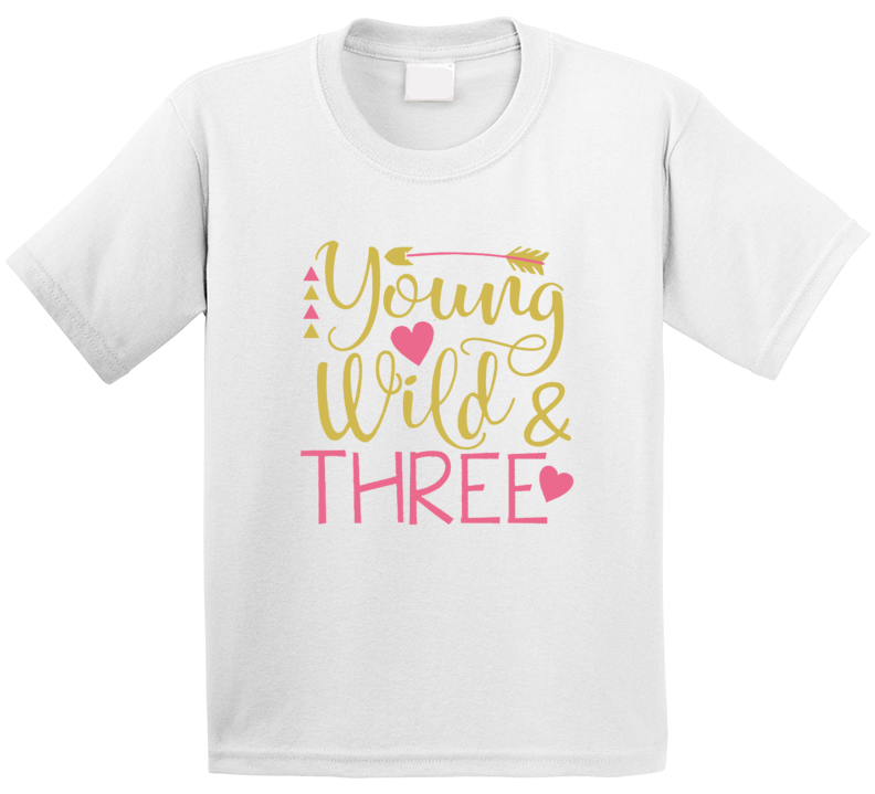 Young Wild And Three Boho Birthday Part Toddler 3 Third Bday Tshirt