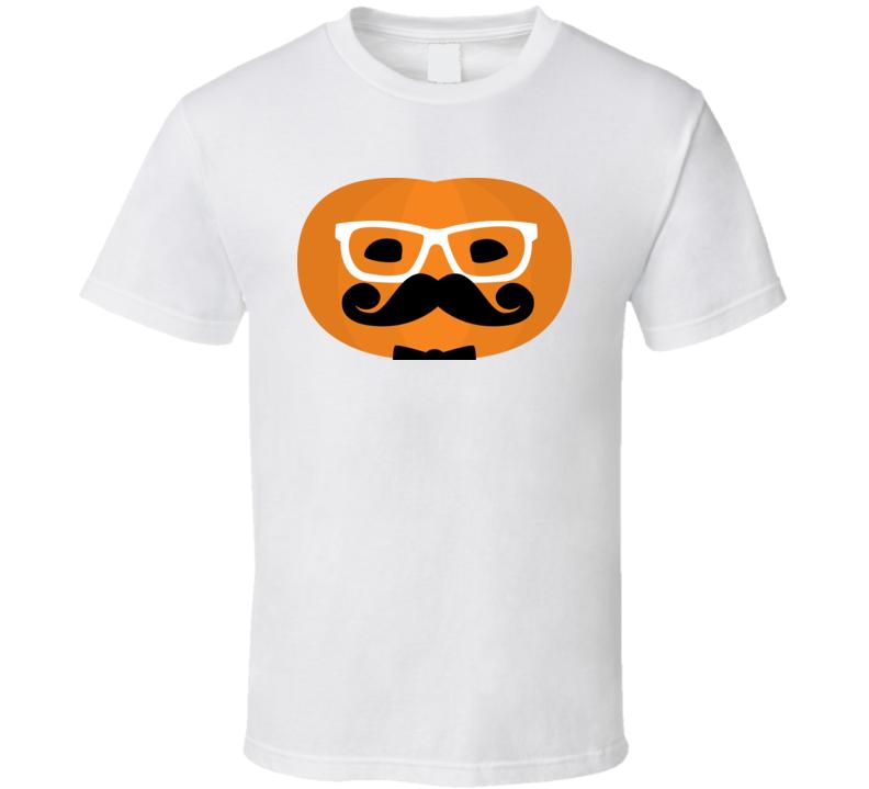 Funny Hipster Haloween Pumpkin T Shirt