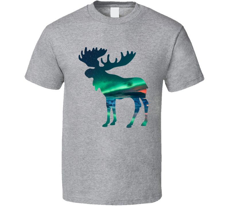 Moose Silhouette Northern Lights Photography Nature Animal Lover T Shirt