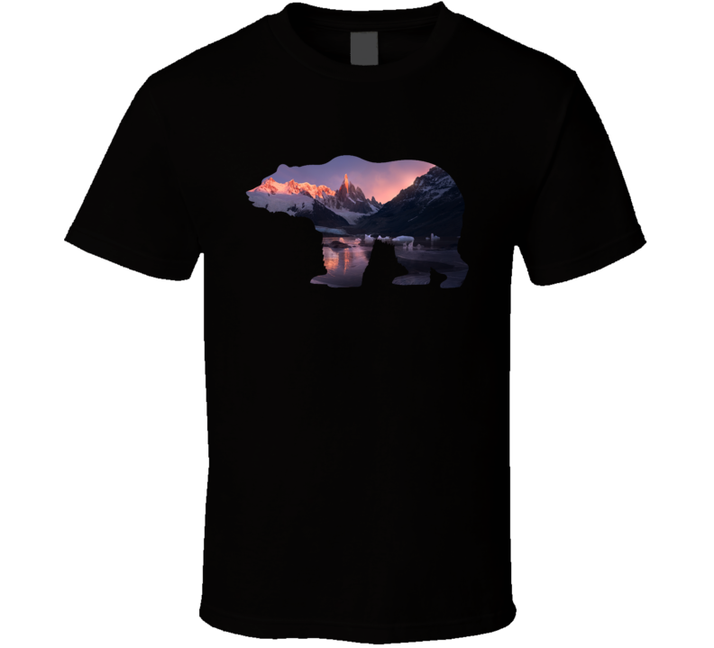 Grizzly Bear Silhouette Beautiful Mountain Sunset Photography Nature Animal Lover T Shirt