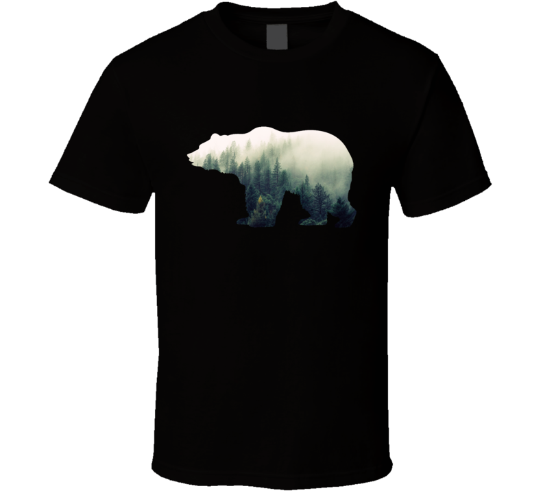 Grizzly Bear Silhouette Foggy Boreal Forest Photography Nature Animal Lover T Shirt