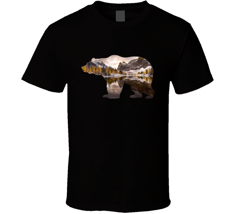 Grizzly Bear Silhouette Mountain Autumn Lake Photography Nature Animal Lover T Shirt