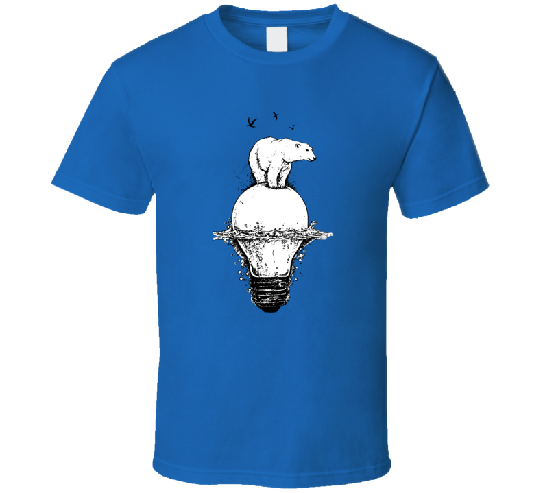 Save The Polar Bears Global Warming Balancing On Light Bulb Turn Off Unplug T Shirt