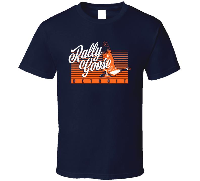 Rally Goose Detroit Baseball Mascot Good Luck Charm Scoreboard Injured Goose T Shirt