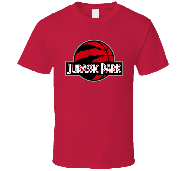 Toronto Basketball The Finals Jurassic Park Logo Parody Mashup Game Viewing Red Black Grey T Shirt