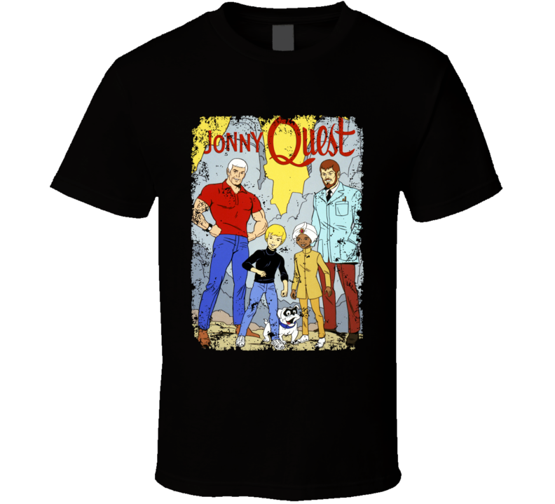 Jonny Quest Cartoon Logo Retro Cult Poster Aged T Shirt