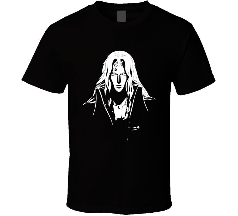 Alucard Stencil Portrait Castlevania Anime Video Game T Shirt