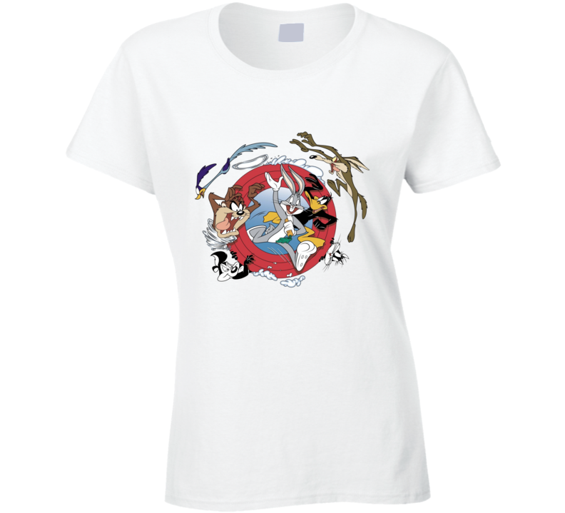 Bugs Bunny Daffy Duck Road Runner Looney Tunes Cartoon Ladies T Shirt