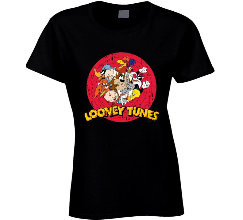 Bugs Bunny Daffy Duck Porky Pig Looney Tunes Cartoon Aged Ladies T Shirt