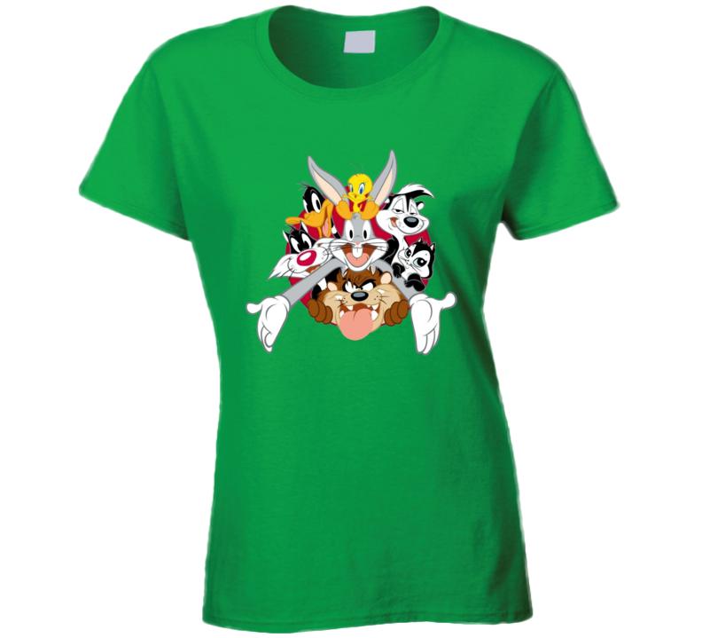 Bugs Bunny Daffy Duck Tweety Bird Looney Tunes Cartoon Ladies T Shirt