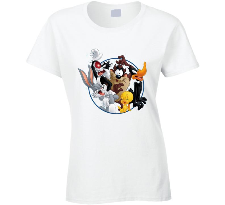 Bugs Bunny Daffy Duck Sylvester Cat Looney Tunes Cartoon Ladies T Shirt