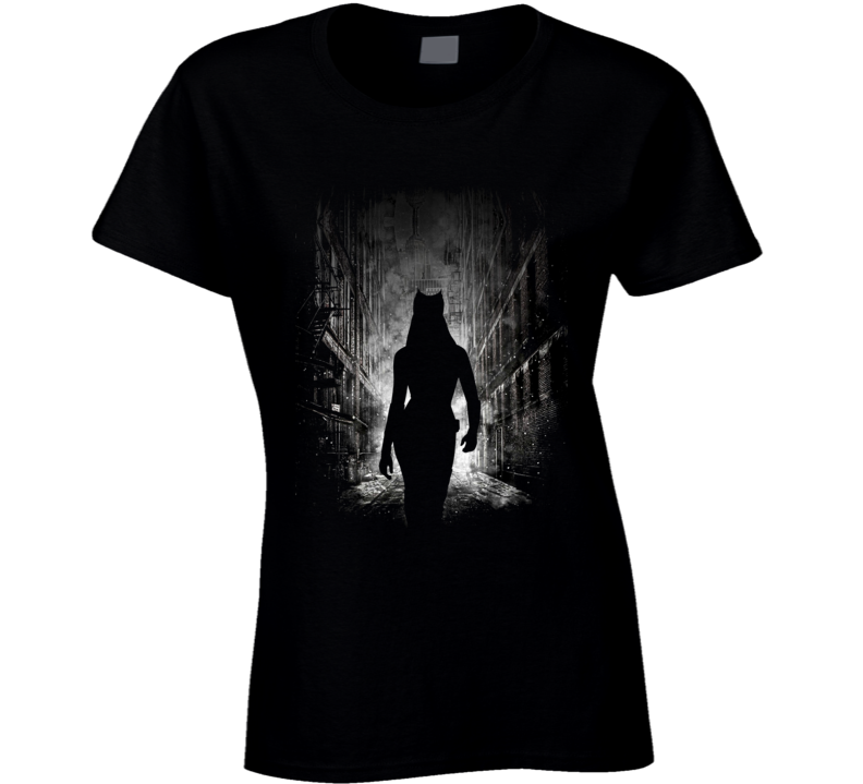 Catwoman City Alley Prowl Scene Night on the Town Fun Ladies T Shirt