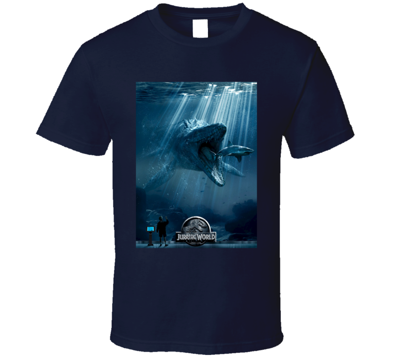 Under Water Dinosaur Jurassic World 2015 Movie Poster T Shirt