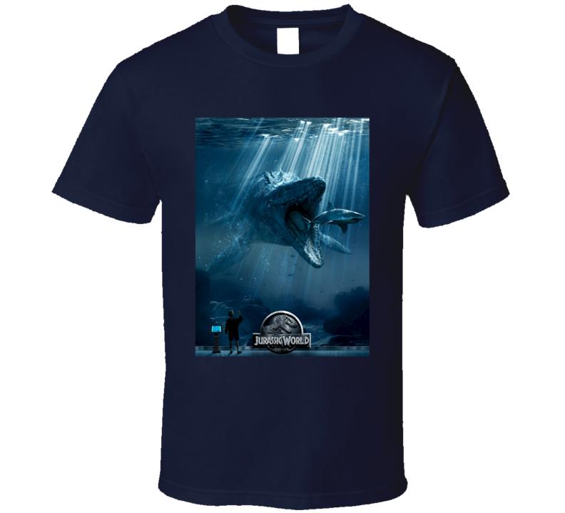 Under Water Dinosaur Jurassic World 2015 Movie Poster T Shirt