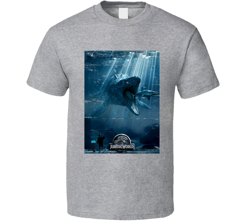 Jurassic World Shark Eating Dinosaur Movie Poster Worn Look T Shirt