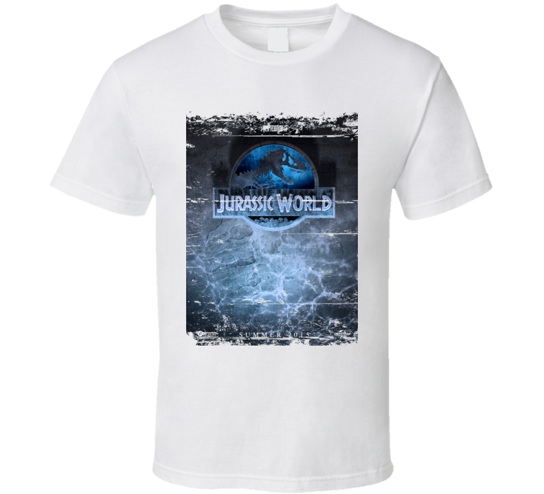 Jurassic World Dinosaur Rex Movie Logo Sea Poster Worn Look T Shirt