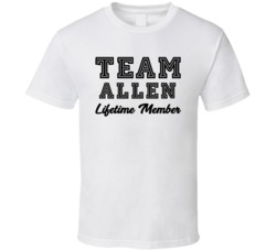 Team Allen Lifetime Member Last Name Surname Personalized Family T Shirt