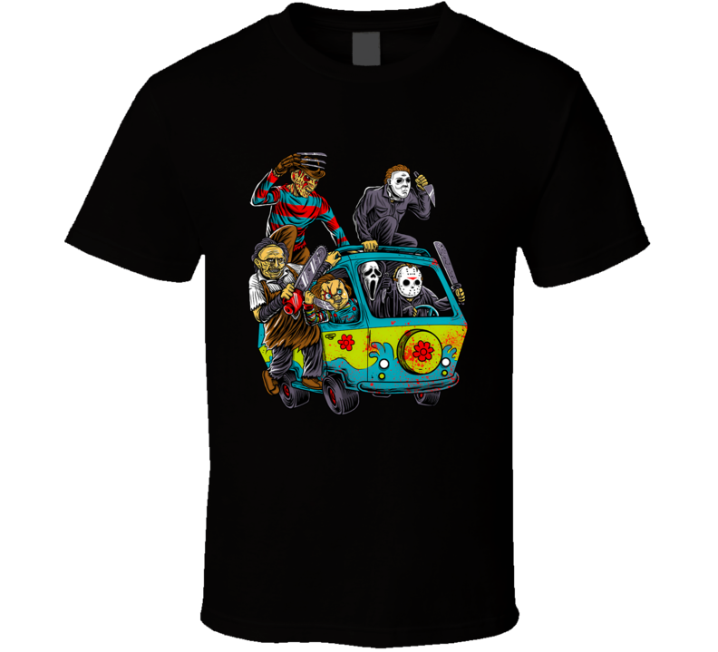 Horror Characters Hippie Van Freddy Vs Jason Chucky Leatherhead Ghostface Scream Halloween T Shirt
