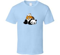 Cuddling Pile Of Napping Loving Panda Raccoon Bunny Pig In Shirt