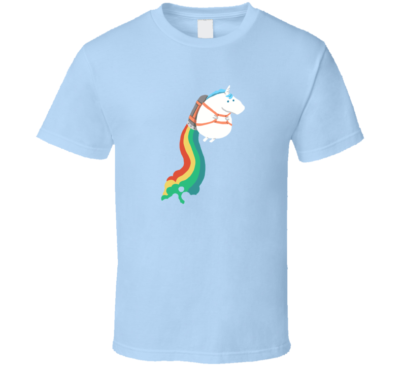 Rainbow Jetpack Unicorn Flying  Pig In Shirt