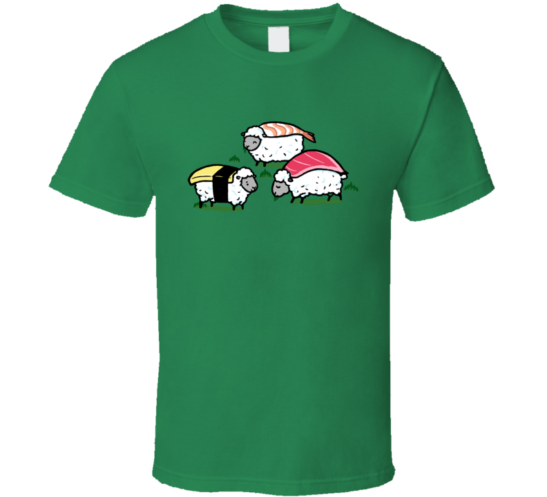 Sushi Sheep Grazing With Fish Cute Funny Pig In Shirt
