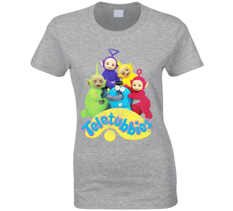 Teletubbies Fun Distressed Vintage Style Popular TV Show Tee Shirt