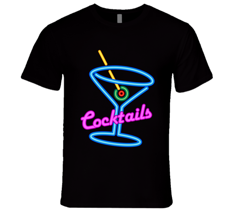 Cocktails Fun Neon Lights Party Alcohol T Shirt
