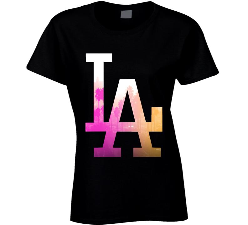 LA Los Angeles Palm Trees Fun Graphic Tee Shirt