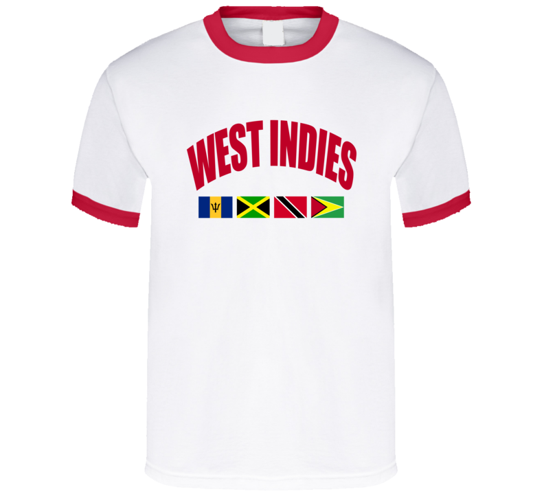 West Indies Barbados Jamaica Trinidad And Tobago Guyana Flag Graphic Tee Shirt