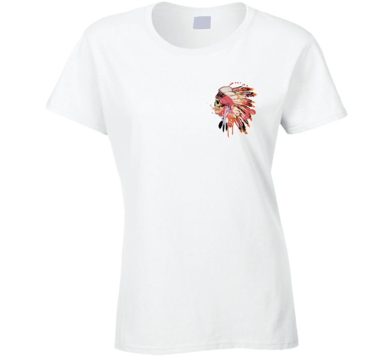 Native Indian Headdress Skull Skeleton Fun Beautiful Graphic Tee Shirt