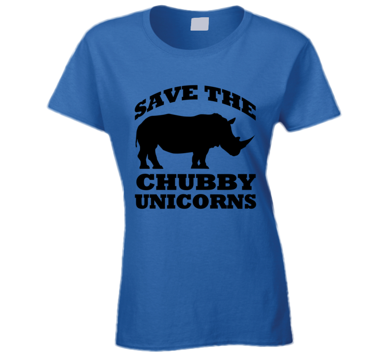 Save The Chubby Unicorns Funny Rhinoceros Graphic Tee Shirt
