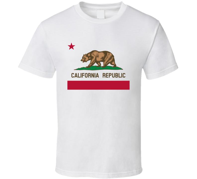 California Republic Bear Popular Graphic Tee Shirt