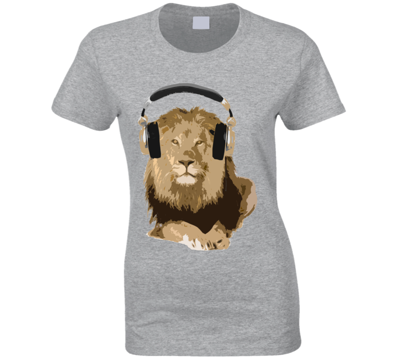 Lion King Wearing Headphones Music Lover Graphic T Shirt