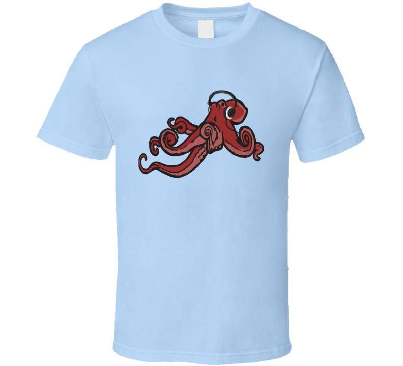 Octopus Wearing Headphones Music Lover Fun Graphic T Shirt