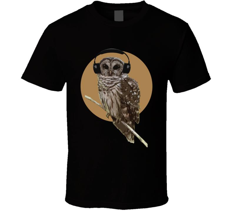 Owl With Headphones Orange Moon Fun Music Graphic T Shirt