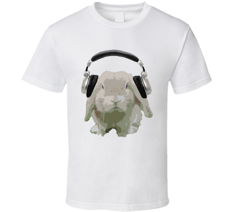 DJ Bun Bunny Rabbit With Headphones Fun Music Lover Graphic T Shirt
