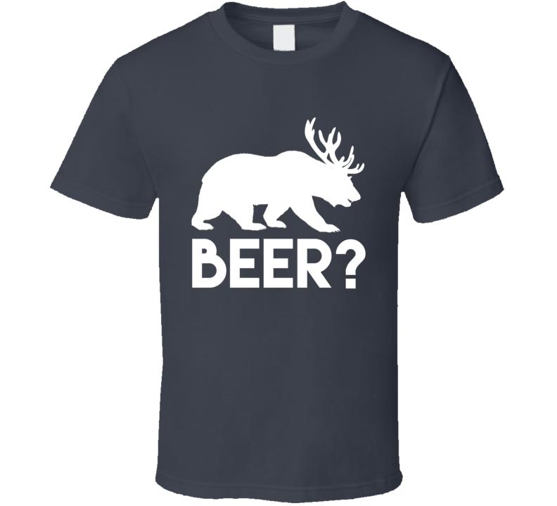 Beer Bear Deer Funny Animal Graphic T Shirt