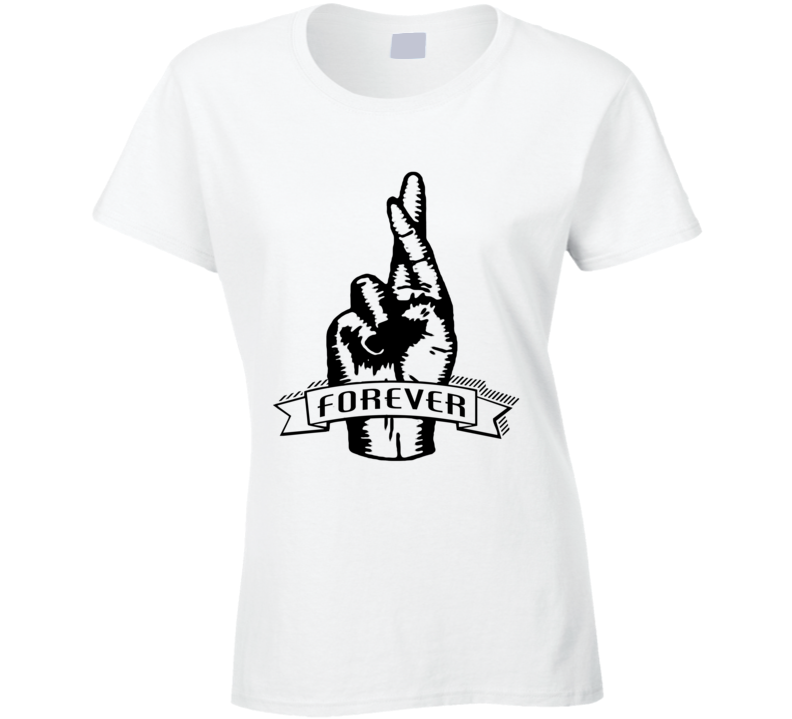 Fingers Crossed Forever Fun Sketched Graphic Tee Shirt