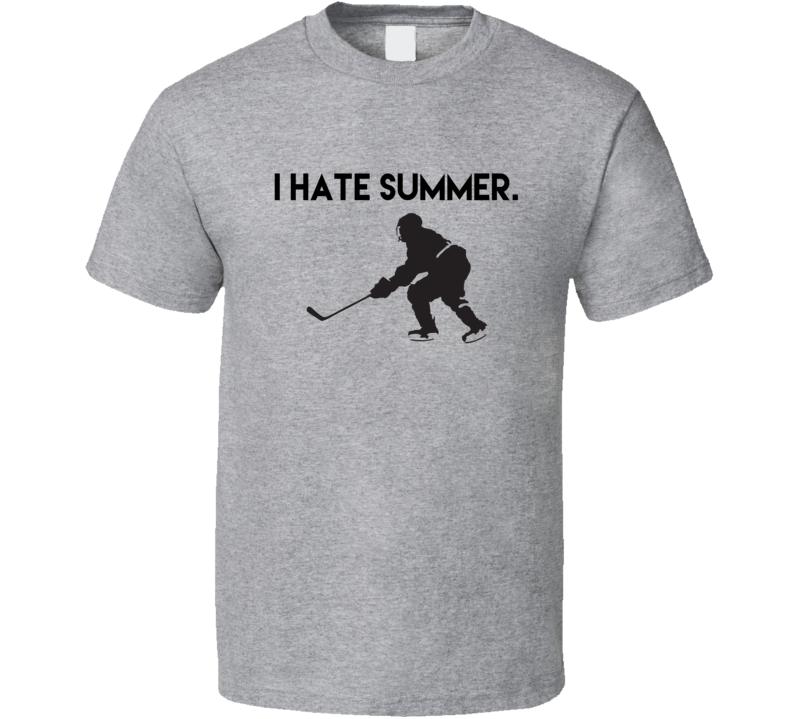I Hate Summer Fun Ice Hockey Love Winter Sports Graphic T Shirt